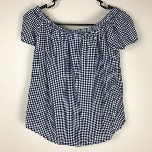3/$20 Mossimo Off the Shoulder Plaid Top